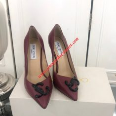 Jimmy Choo Love 100 Leather Pumps With JC Emblem Burgundy