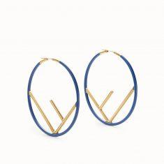 F is Fendi Hoop Earrings In Enameled Metal Blue