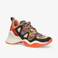Fendi FFluid Running Sneakers In Suede Brown