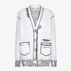 Fendi Roma Joshua Vides Quilted Cardigan In Mesh Fabric White